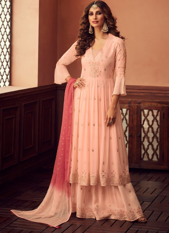 Peach Palazzo Suit For Bridesmaids Traditional 34006 By Zoya