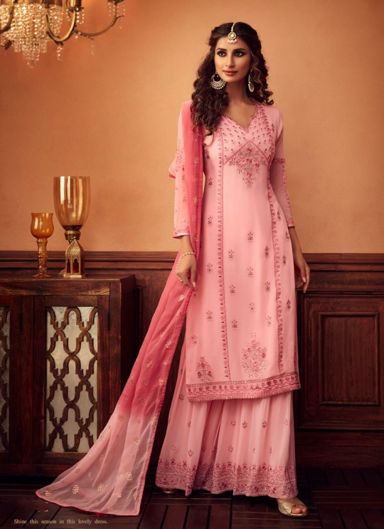 Pink Palazzo Suit For Bridesmaids Traditional 34003 By Zoya
