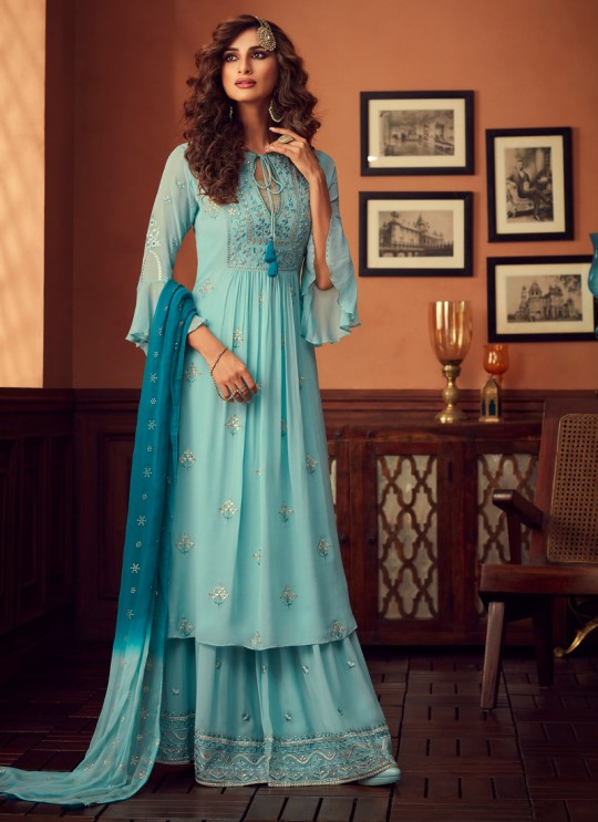 Turquoise Palazzo Suit For Bridesmaids Traditional 34001 By Zoya