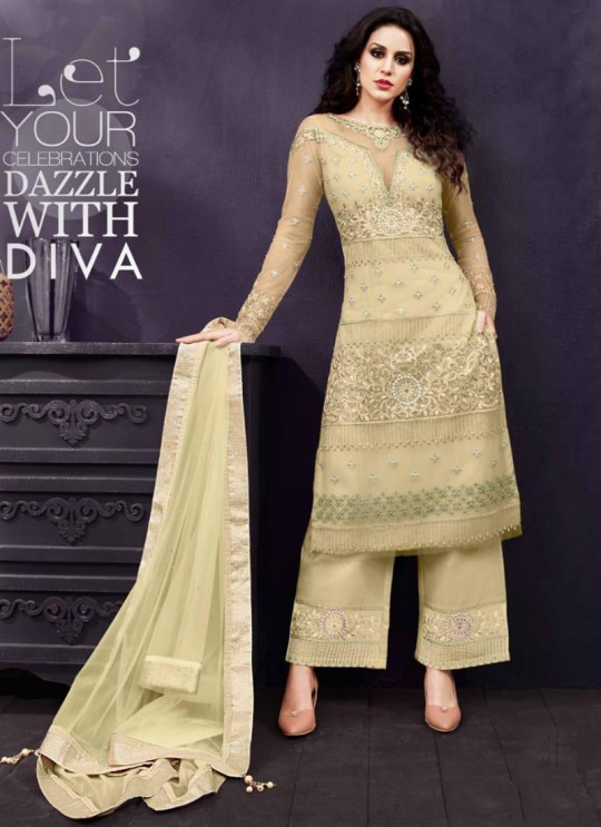 Yellow Party Wear Embroidered Pant Style Suit Ziona 25011 By Zoya