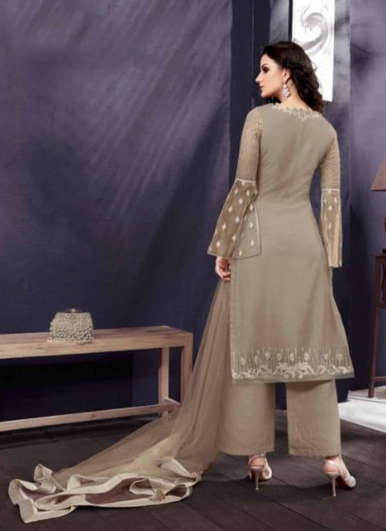 Brown Party Wear Embroidered Pant Style Suit Ziona 25012 By Zoya
