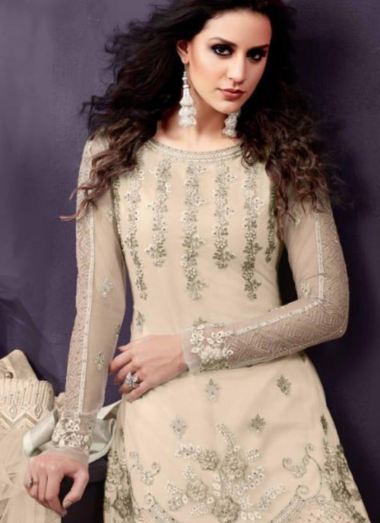 Cream Party Wear Embroidered Pant Style Suit Ziona 25013 By Zoya