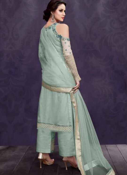 Ice Blue Party Wear Embroidered Pant Style Suit Ziona 25014 By Zoya