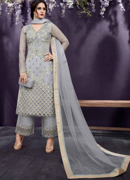 Grey Party Wear Embroidered Pant Style Suit Ziona 25015 By Zoya