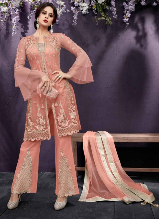 Peach Party Wear Embroidered Pant Style Suit Ziona 25016 By Zoya