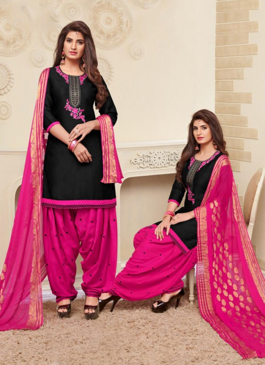 Black Jam Silk Cotton Embroidered Punjabi Suit Patiala Club Vol-3 1034 By Sparrow