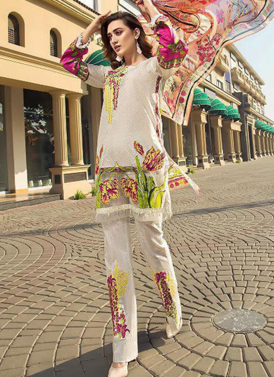 Pure Cotton Casual Wear Pakistani Suits In Off White Color Firdous Silver Dupatta 6171 By Shree Fabs SC/016000