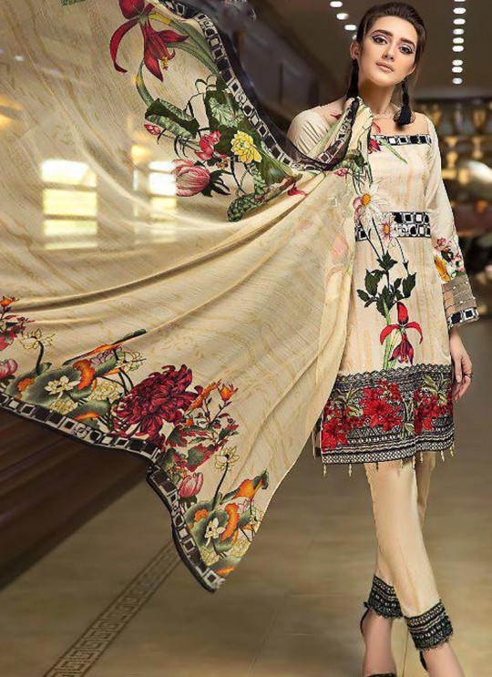 Pure Cotton Casual Wear Pakistani Suits In Beige Color Firdous Silver Dupatta 6174 By Shree Fabs SC/016000