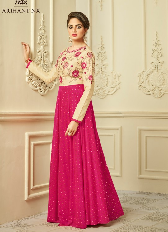 Pink Mulberry Silk Party Wear Kurti Floret VOL 2 2012 By Arihant NX Size XL
