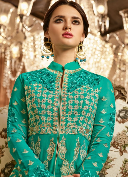 Teal Georgette Embroidered Floor Length Anarkali Suit  Aadhvinna 28002 By Arihant