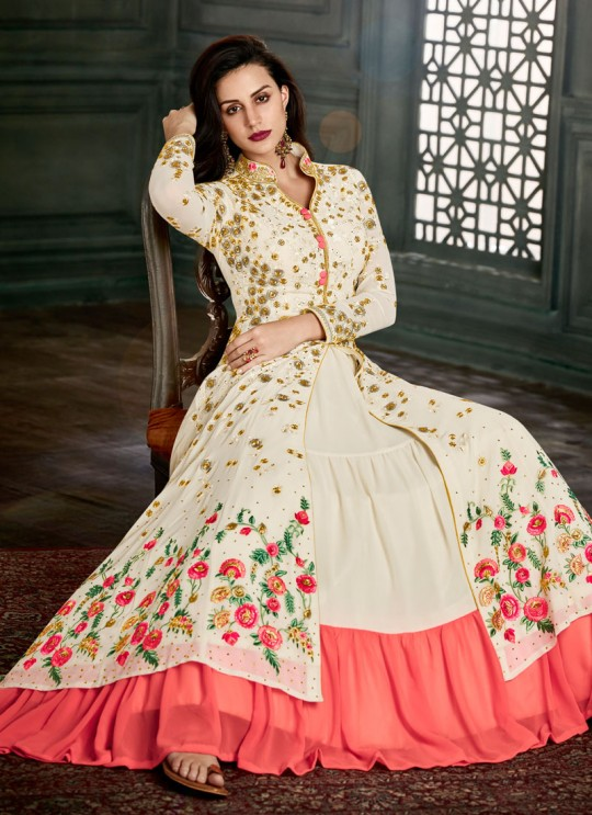 Cream Georgette Embroidered Floor Length Anarkali Suit  Vidhisha 31001 By Arihant