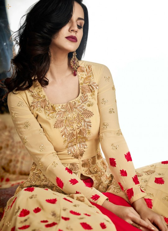Cream Georgette Embroidered Floor Length Anarkali Suit  Vidhisha 31005 By Arihant
