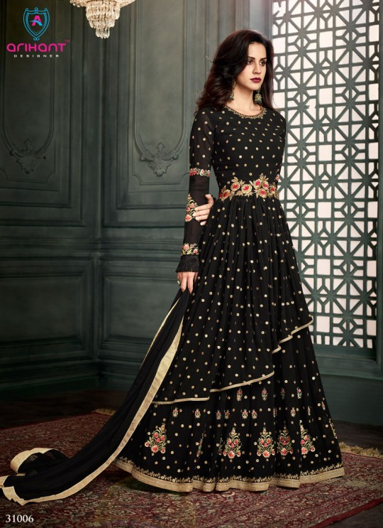 Black Georgette Embroidered Floor Length Anarkali Suit  Vidhisha 31006 By Arihant