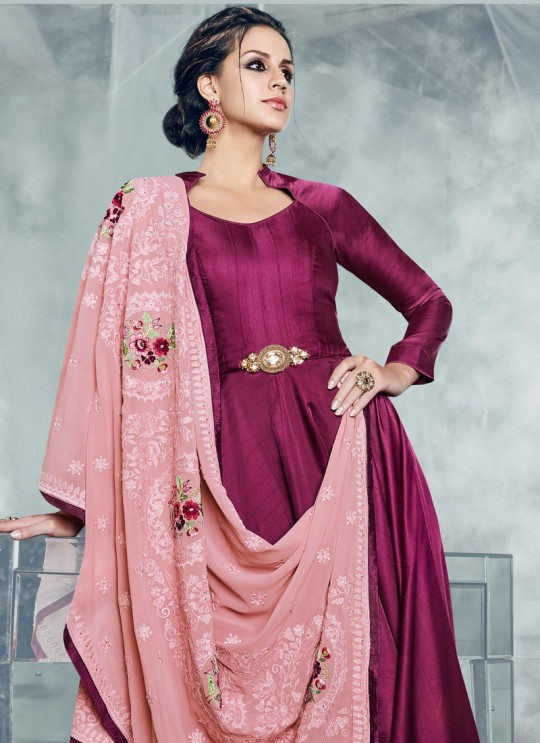 Magenta Silk Satin Party Wear Kurti CHEERY 7001 By Arihant NX Size XL