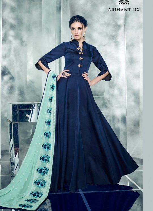 Blue Silk Satin Party Wear Kurti CHEERY 7002 By Arihant NX Size XL