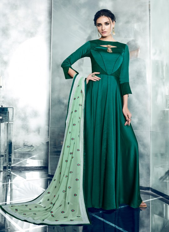 Green Silk Satin Party Wear Kurti CHEERY 7004 By Arihant NX Size XL