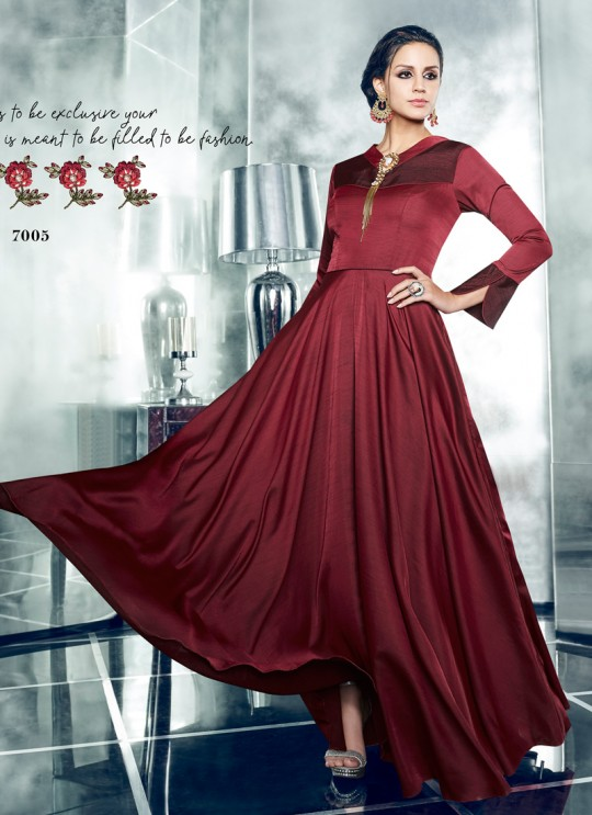 Wine Silk Satin Party Wear Kurti CHEERY 7005 By Arihant NX Size XL