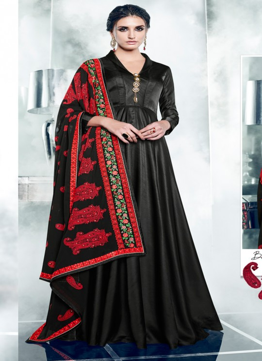 Black Silk Satin Party Wear Kurti CHEERY 7006 By Arihant NX Size XL