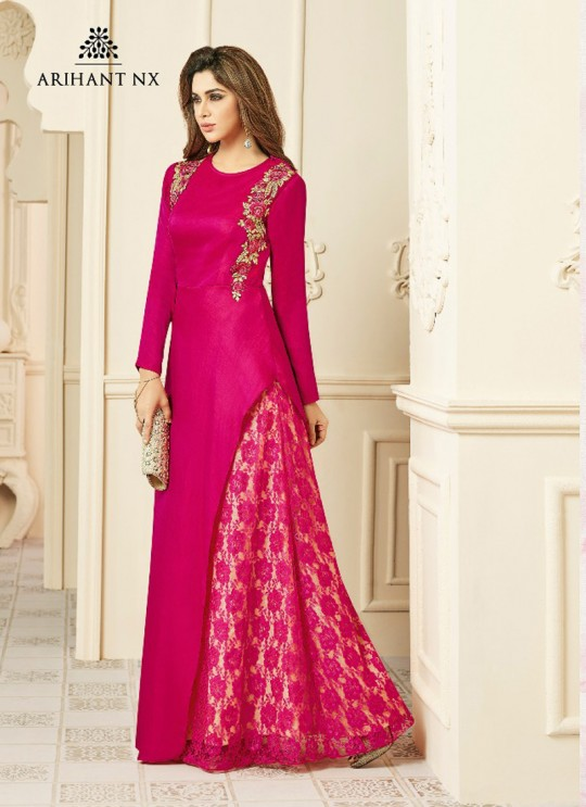 Wholesale Pink Art Silk Embroidered Patch Work Party Wear Kurti SILKY TOUCH NX 4003 By Arihant