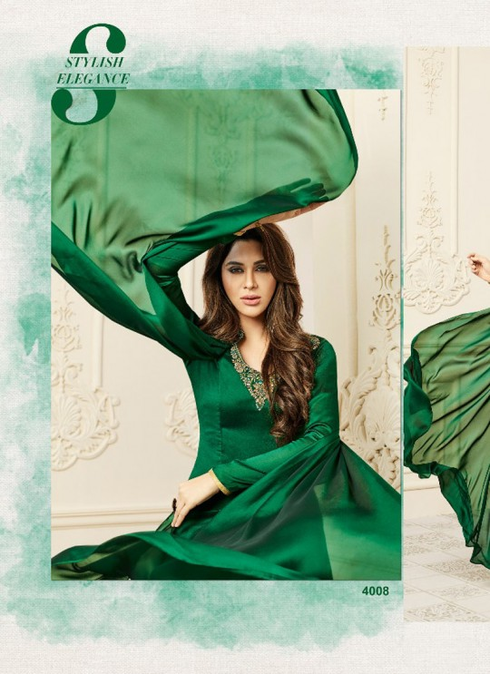 Green Satin Georgette Embroidered Patch Work Party Wear Kurti SILKY TOUCH NX 4008 By Arihant
