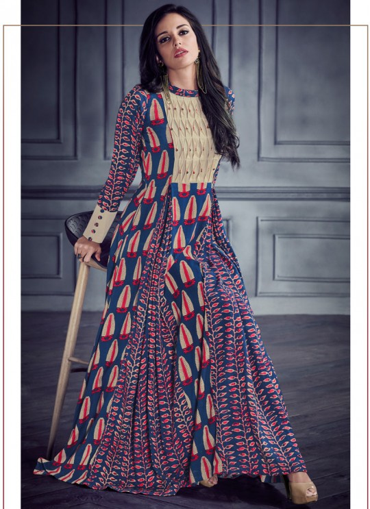 Blue Rayon Printed Party Wear Kurti SHABYATA 8002 By Arihant