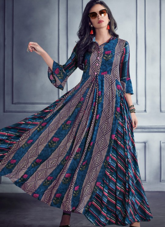 Blue Rayon Printed Party Wear Kurti SHABYATA 8005 By Arihant