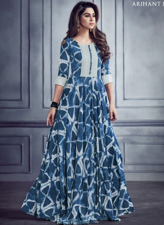 Blue Rayon Printed Party Wear Kurti SHABYATA 8006 By Arihant