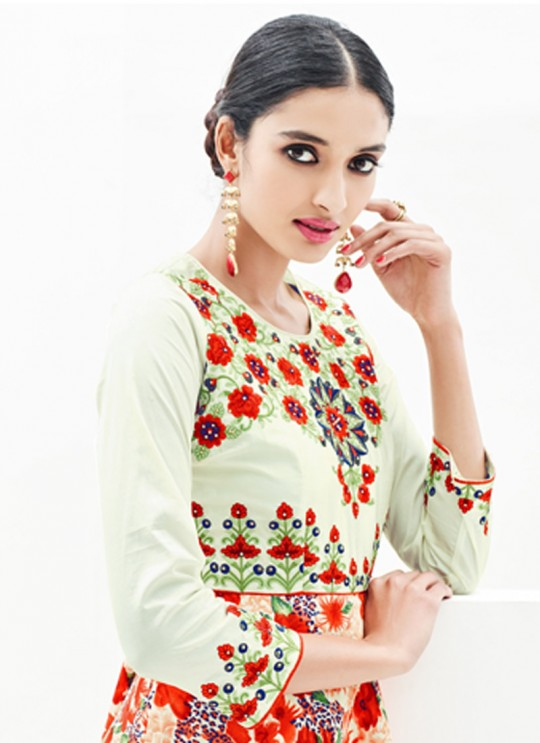 Multicolor Faux Georgette Embroidered Party Wear Kurti SASYA VOL 9  By Arihant