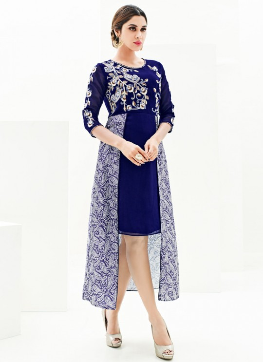 Blue Faux Georgette Floral Print, Embroidery  Designer Kurti SASYA VOL 9  By Arihant