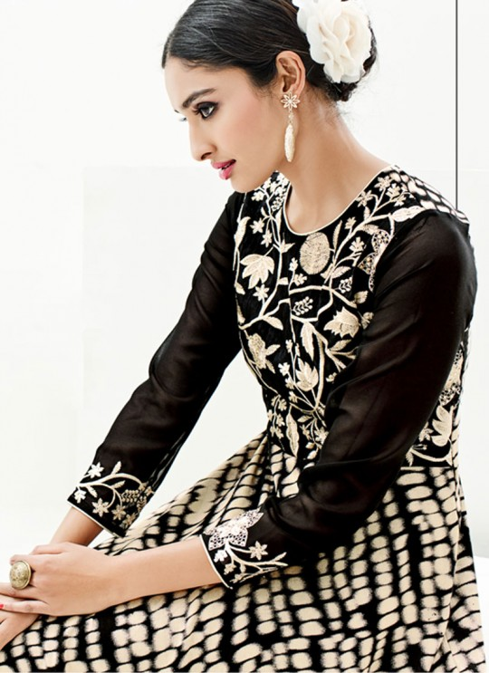 Black Faux Georgette Embroidered Party Wear Kurti SASYA VOL 9  By Arihant