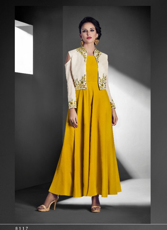 Yellow Faux Georgette Embroidered Gown Style Kurti SASYA VOL-14 NX 8117 By Arihant