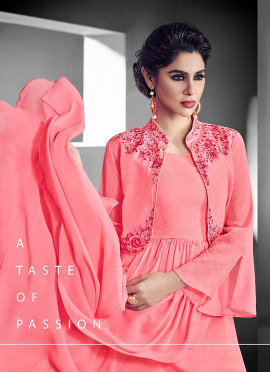 Pink Faux Georgette Embroidered Gown Style Kurti SASYA VOL-14 NX 8122 By Arihant