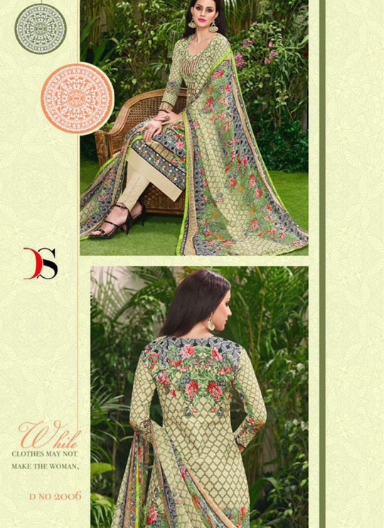 Green Cotton Straight Cut Suit HOUSE OF COTTON 2006 By Deepsy