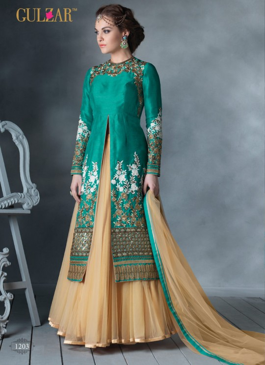 Teal Blue Art Silk Embroidered Wedding Wear Designer Lehenga Choli 1201 Series 1203 By Gulzar