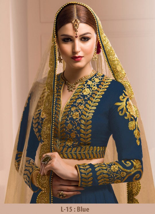 Blue Georgette Embroidered Wedding Wear A-Line Lehenga Choli 12 TO L-15 SERIES L-15 Blue Color By Gulzar