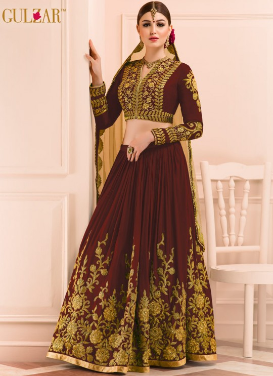 Maroon Georgette Embroidered Wedding Wear A-Line Lehenga Choli 12 TO L-15 SERIES L-15 Maroon Color By Gulzar