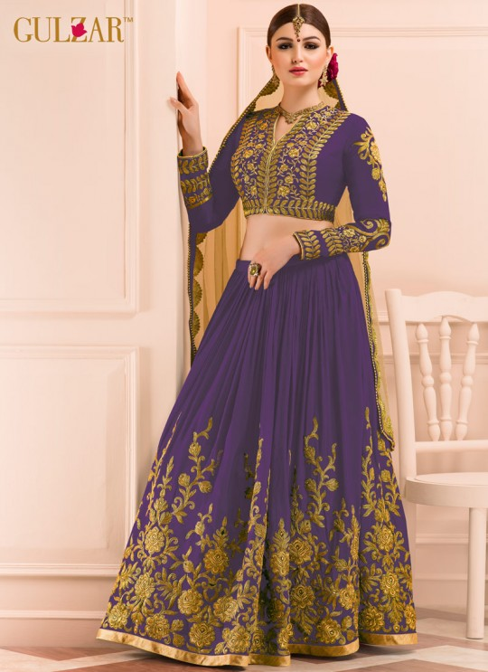 Wine Georgette Embroidered Wedding Wear A-Line Lehenga Choli 12 TO L-15 SERIES L-15 Wine Color By Gulzar