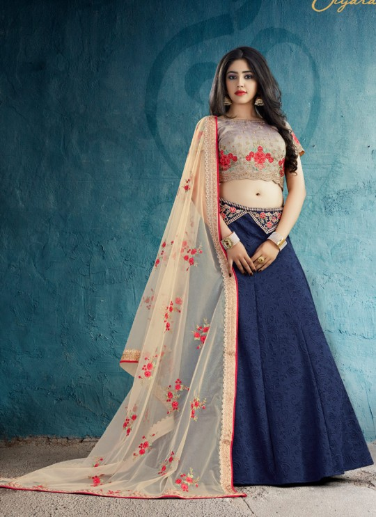 Blue Art Silk Embroidered Wedding Wear Designer Lehenga Choli GARLIOAS LEHENGHA VOL-1 L-47 By Gulzar