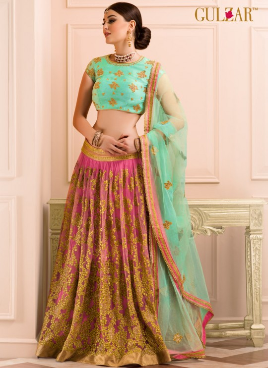 Pink Art Silk Embroidered Wedding Wear A-Line Lehenga Choli 12 TO L-15 SERIES L-14 By Gulzar