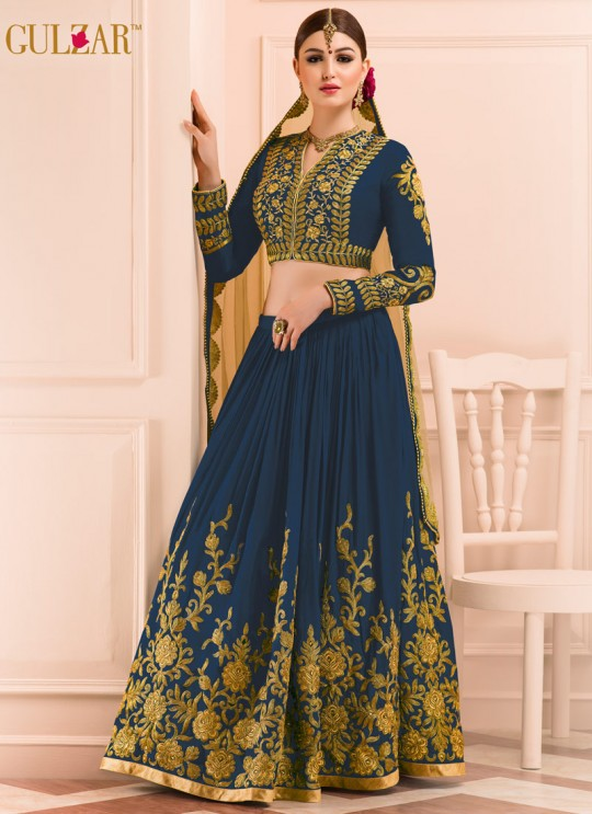 Blue Georgette Embroidered Wedding Wear A-Line Lehenga Choli 12 TO L-15 SERIES L-15 By Gulzar