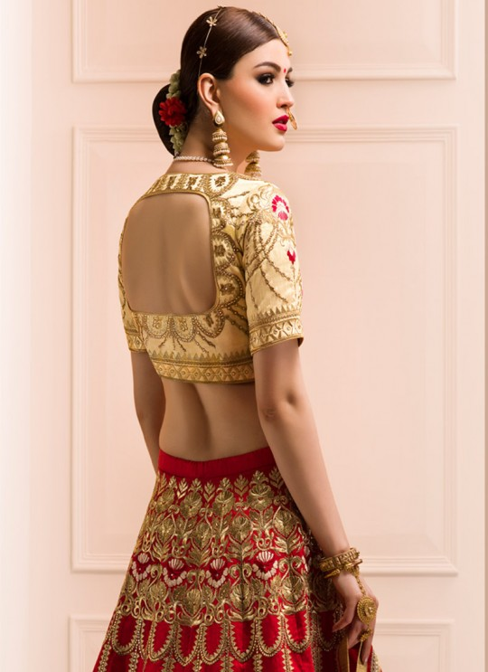 Red Art Silk Embroidered Wedding Wear A-Line Lehenga Choli 12 TO L-15 SERIES L-12 By Gulzar