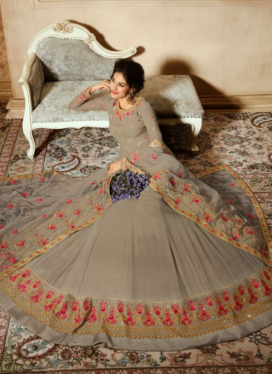 Beige Georgette Floor Length Anarkali AMYRA 9082 By Glossy