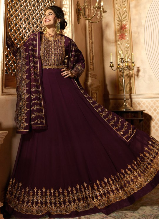 Wine Georgette Floor Length Anarkali AMYRA 9085 By Glossy