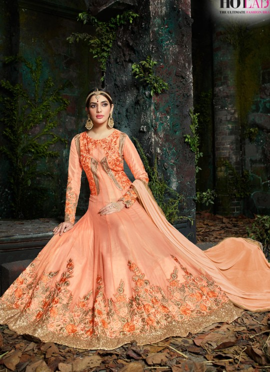 Peach Pure Georgette Floor Length Anarkali Maheera 11224 By Hotlady SC/006867