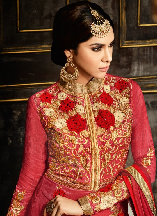 Red Silk, Net Skirt Kameez Safeena Season 4 3991 By Hotlady SC/003148