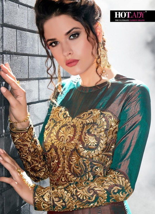 Green Silk Floor Length Anarkali Sameena 7012 By Hotlady SC/010195