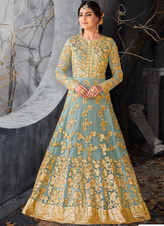 Blue Net Floor Length Anarkali Sameena 7016 By Hotlady SC/010199