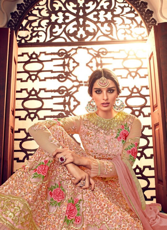 Pink Net Floor Length Anarkali Malisha 7024 By Hotlady SC/011201