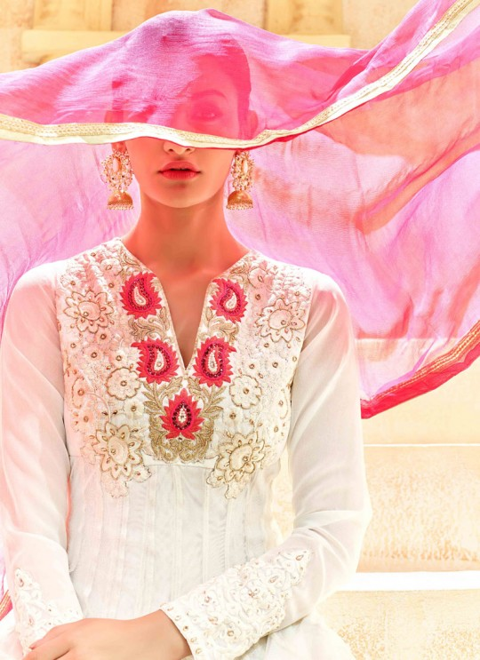 White Pure Georgette Floor Length Anarkali Shaleen 7222 By Hotlady SC/005264
