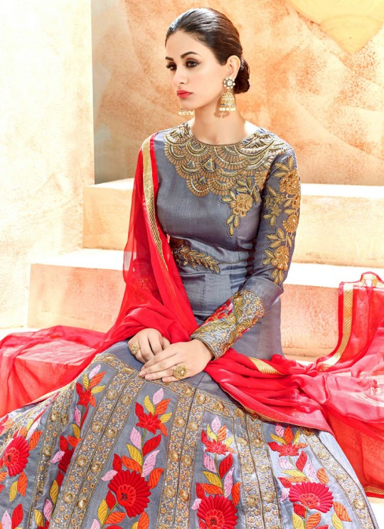 Grey Swiss Shadow Floor Length Anarkali Shaleen 7226 By Hotlady SC/005268